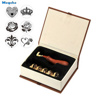 Mogoko 2017 Wholesale 1 Set Brass Head Vintage Retro Removable Wax Seal Sealing Stamp Letter Card Decor Gift 6 Different pattern