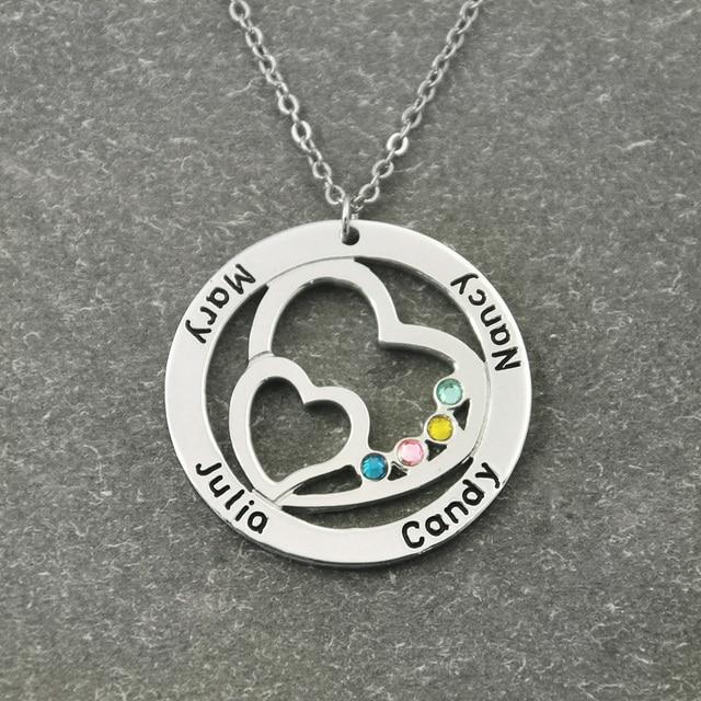 Personalizzato Nome Collana con Birthstone, Rotondo Collana Doppio Cuore di Famiglia Personalizzato nel Cricle, Regalo per le Donne