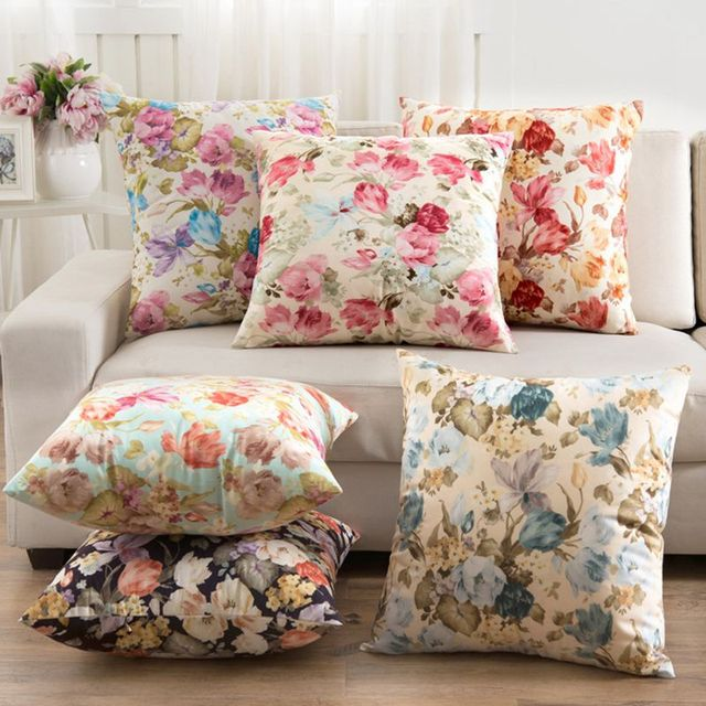 2016 Flowers Cushions Cover Home Decor Pillows New 2016 Signature Cotton Cecorative Throw Pillows Decor Pillow C