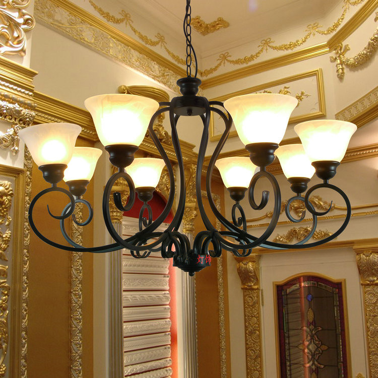 Black iron lamp cover living room chandeliers lights bedroom light lamps for home modern