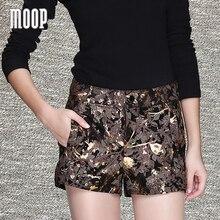 Diseño impreso pantalones cortos de piel de oveja genuina pantalones cortos de cuero de las mujeres blusas de moda caliente pantalones cortos pantalones cortos mujer LT1038