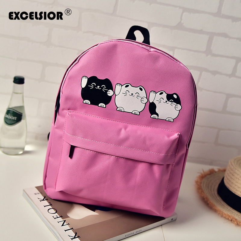 EXCELSIOR Harajuku Style Women Canvas Backpacks Teenage Girls School Bags Cartoon Cat Backpack Female travel Bag Campus rucksack