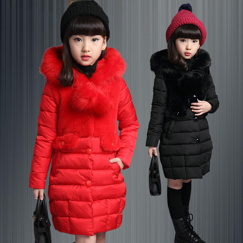 girls winter jackets cotton padded hooded down jacket for girl outerwear coat medium long thicken winter