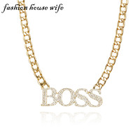 Fashion House Wife New Rhinestone Iced Out Letters BOSS Necklace Men Punk Large Gold Pendant Necklace