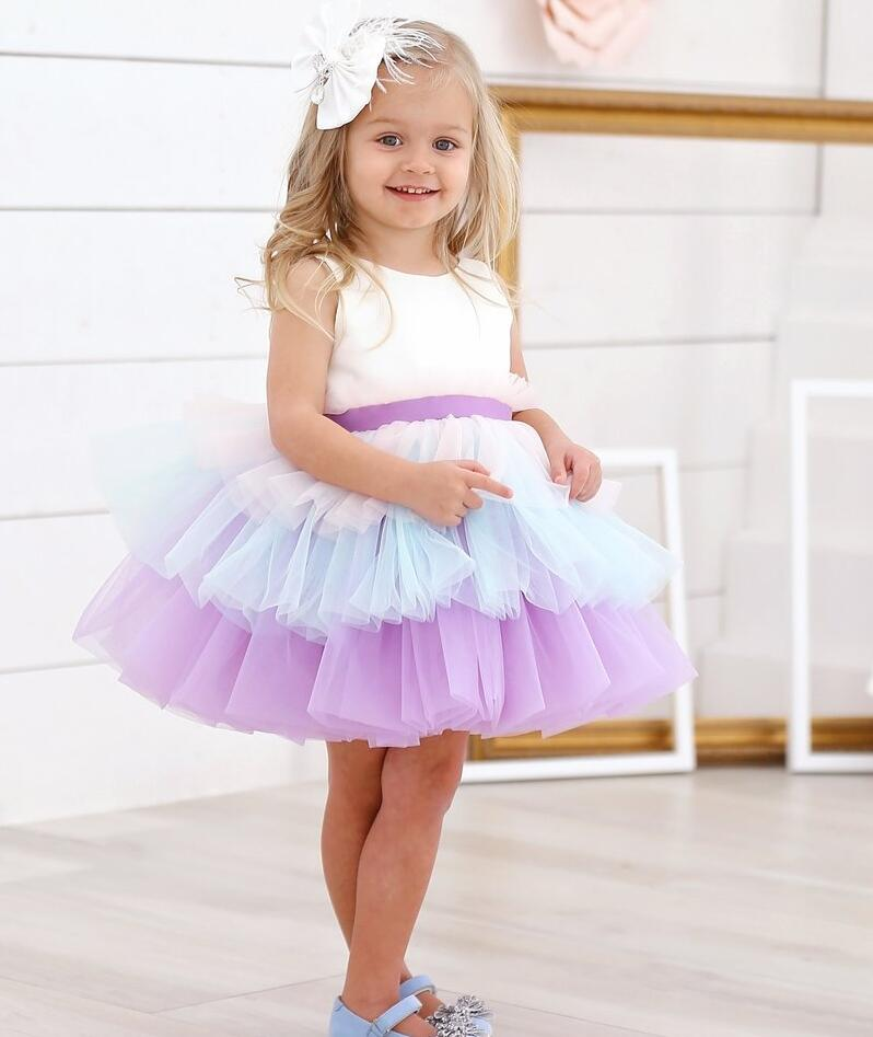Sweet puffy tired tulle cupcake short toddler graduation dresses for dance baby girl first birthday party dress with bow sash все цены