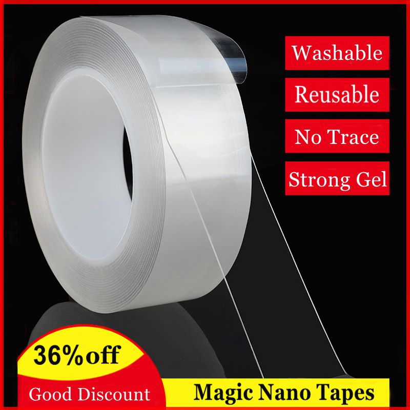 Nano Magic Tape Double Sided Gel Grip Multifunction Transparent Adhesive Tapes Washable Reusable Strong Silicone