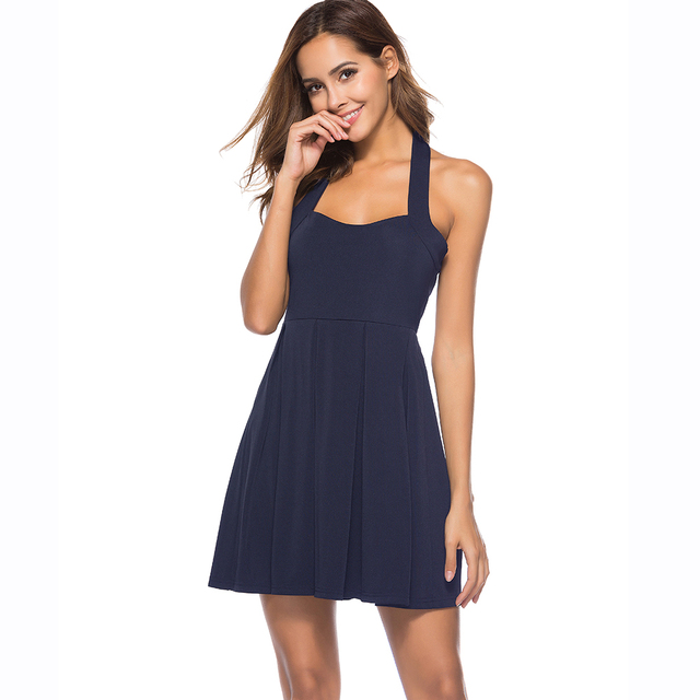 Sexy Club Wear Summer Dress Halter Neck Navy Blue Short Vestidos Sleeveless  Cocktail Party Women Dresses 2018 Mini Skater Dress f1517977b