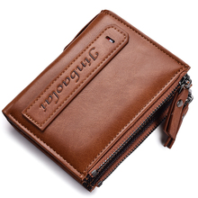 Leather Men Wallets Credit Business Card Holders Double Zipper Wallet Purse Carteira Short Coin Purse Small Vintage Wallets rfid crazy horse genuine leather men wallets credit business card holders double zipper cowhide leather wallet purse carteira