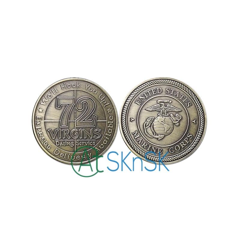 50pcs/lot NEW USMC U.S. Marine Corps 72 Virgins Bronze Antique Challenge Coin