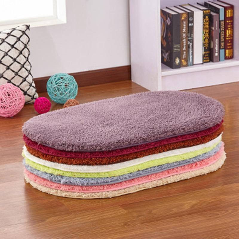 New Lambskin Bedroom Oval Carpet Thicken Lambskin Bedroom Bedside Blanket Living Room Mat Water-absorbing Non-slip Rug 60x90cm