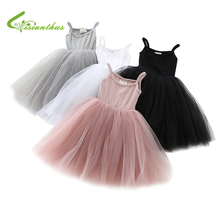 цены на 2019 New Baby Girls Sling Ball Dresses Knit Cotton Vest Ballet Tutu Dress  with Mesh Summer Girl Dance Party Princess Dress  в интернет-магазинах