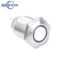 цена на BIG DISCOUNT TODAY 16mm latching function black housing 12V ring led illuminated push button switch