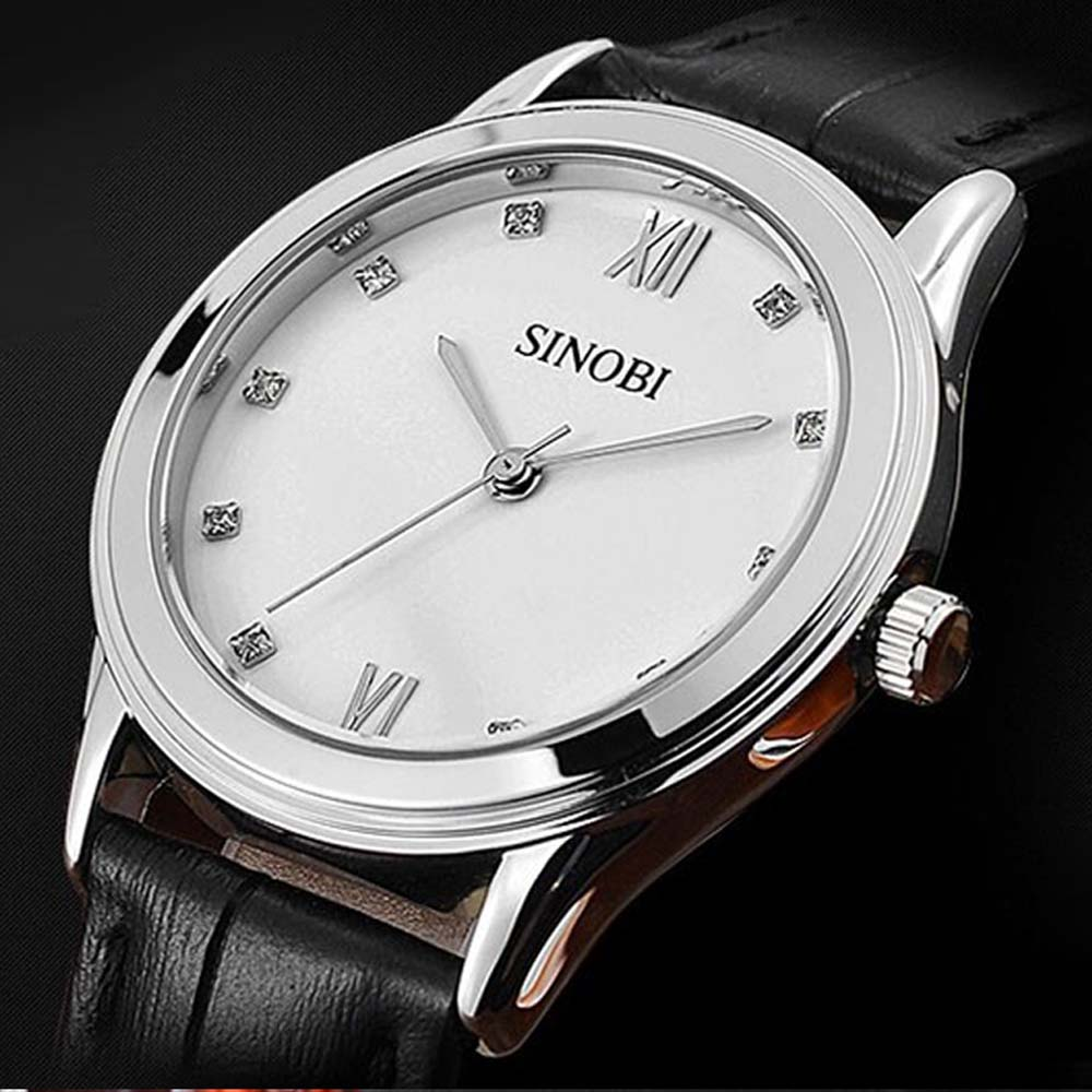 Relogio Feminino Sinobi Watches Women Fashion Leather Strap Japan Quartz Wrist Watch For Women Ladies Luxury Brand Wristwatch