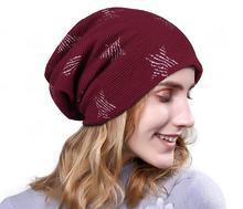 Cuhakci marca sombrero de invierno Beanie caliente skullies algodón  estrella punto gorras mujer sombreros de invierno Rojo Negro. a7fb57d2a75