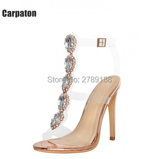 2017 Ankle Strap Crystal Gladiator Sandals New Bling Sexy High Heels Transparent Shoes Platform Sandals Casual Gold Shoes Woman phyanic 2017 gladiator sandals gold silver shoes woman summer platform wedges glitters creepers casual women shoes phy3323