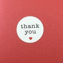 Envío Gratis 600 Unids/lote «GRACIAS» Dentro de Corazón Rojo para el Hogar niños Etiqueta Pegatinas Sello En la computadora portátil/regalo/de La Boda/Joyería