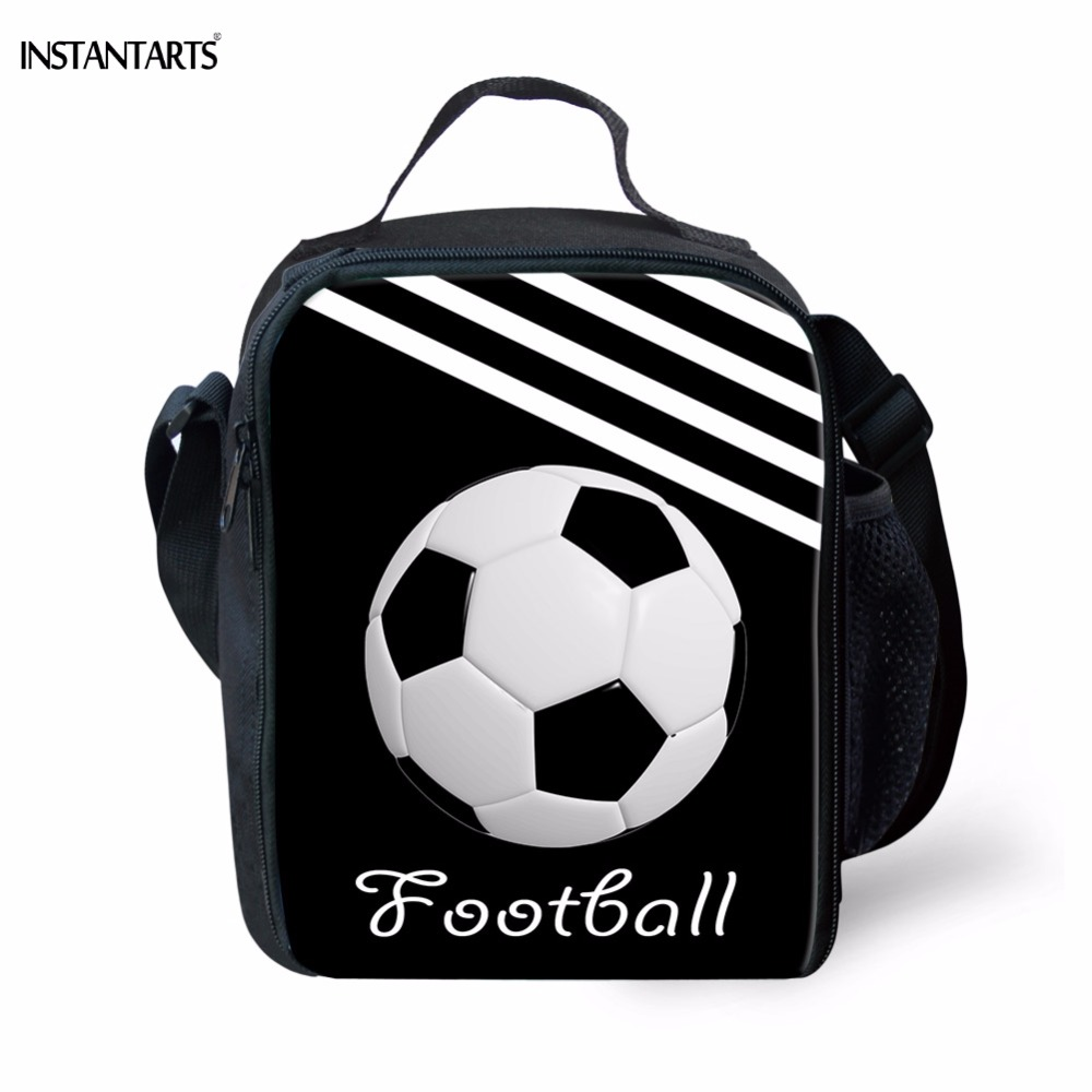 INSTANTARTS Casual Kids Tote Lunch Bags Cool 3D Soccerly Pattern Boys Lunchbox Insulated New Designer Thermal Cooler Lunch Bag