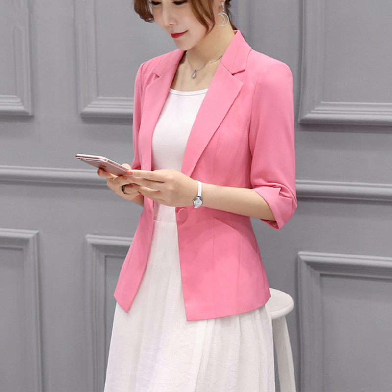 TEAEGG Blazer Woman 2018 Casual Spring Autumn Office Blazer FemininoThree Quarter Black Women-Blazers-And-Jackets Coat AL765
