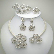 Hot Sale New 2015 Free Shipping Silver Plated Big African Minority Chunky Jewlery Set For Women Party Jewelry Set