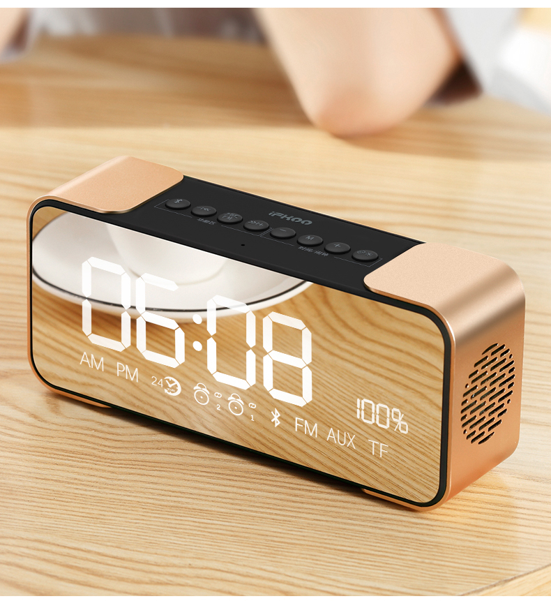 bluetooth speake Alarm clock and makeup mirror wireless bluetooth speaker LED CLOCK in Portable Speakers from Consumer Electronics