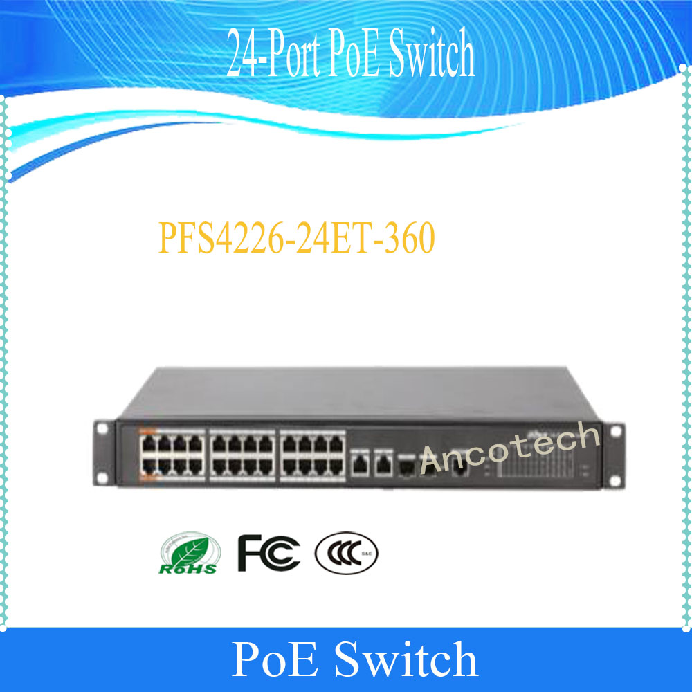 Dahua 360 W 24-port Poe Schalter Für Ip Kamera Schicht 2 Management Poe Schalter Dh-pfs4226-24et-360