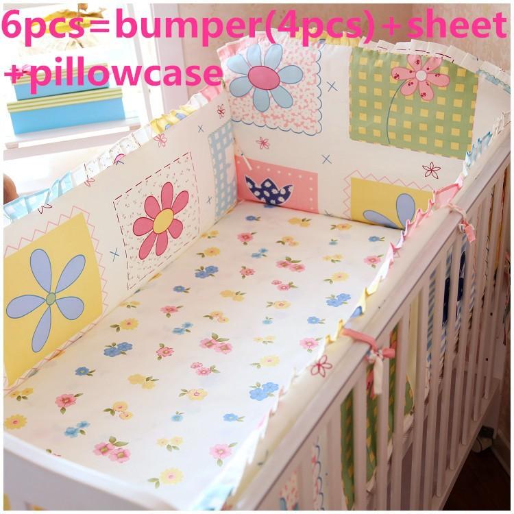 Promotion! 6/7PCS Bedding Set Printed Cartoon Bed Sheet Pillow Case Baby Crib Bedding Sets , 120*60/120*70cm stylish hope letter printed horizontal block pillow case