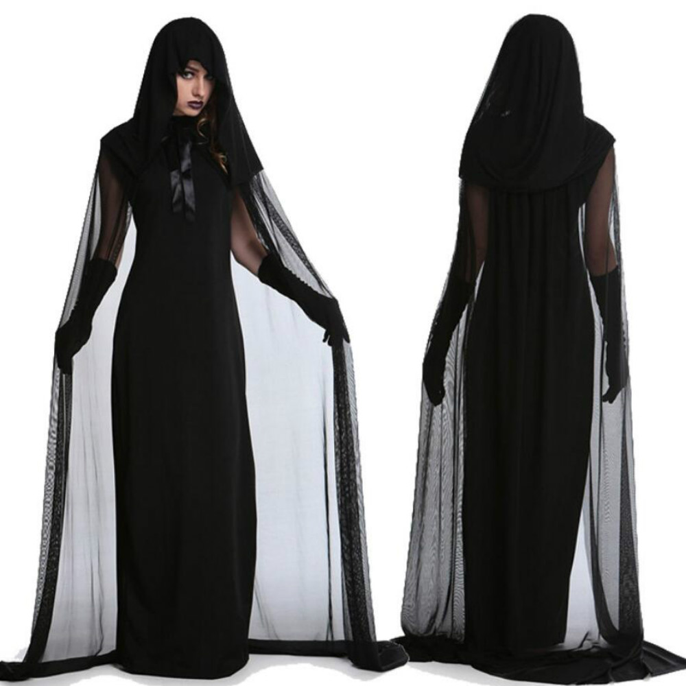 Halloween Costumes For Women Party Cosplay Black Night Wandering Soul Ghost Vampire Dress Costume With Floored Hooded Cape Girl