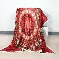 Mandala Sherpa Throw Blanket Turquoise India Red Elephant Messenger Sherpa Fleece Blanket Super Soft Velvet Plush