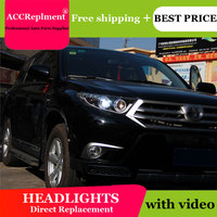car styling For Highlander headlights U angel eyes 2012 2013 For Highlander LED light bar Q5 bi xenon lens LED Bulb projector