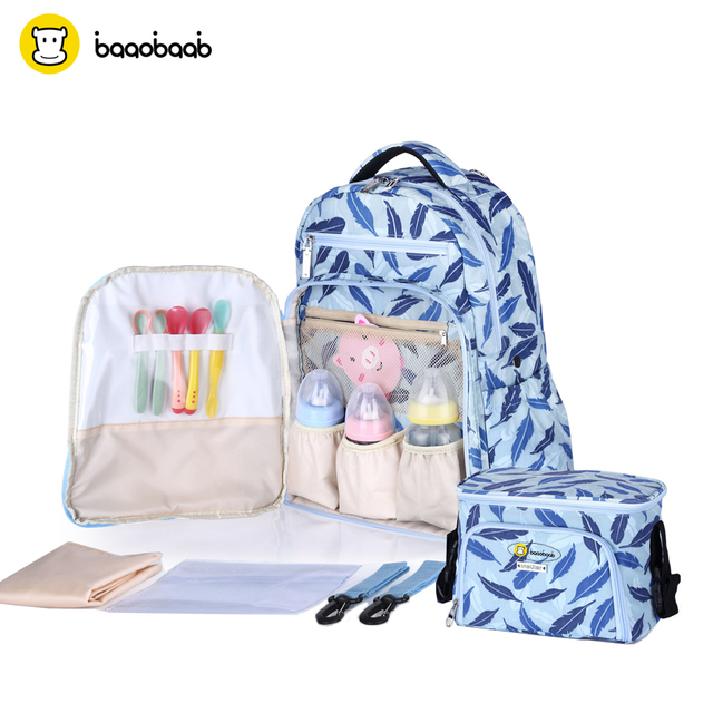 2eea7e01f00f BAAOBAAB MB03 Large Size Baby Diaper Bag Sets Backpack Mom Baby Bottle  Holder Nappy With Stroller