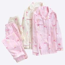 2019 New Women Pajamas Set Ice Cream Printed 100% Gauze Cotton Ladies Sleepwear Two Piece Set Turn down Collar Household Clothes