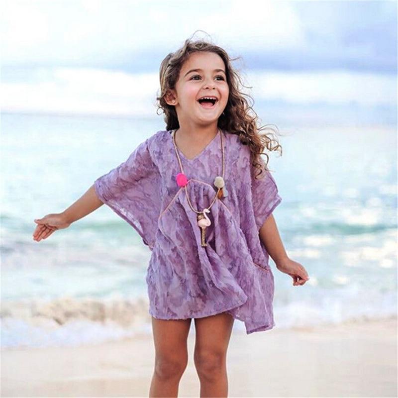 d46d90cdf1 ... Swim Cover Dress 90 Girls Summer Beach Dress 2018 Kids Baby Floral  Princess Wear Cover ...