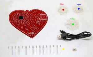 Image 2 - zirrfa New green heart shaped diy kit lights cubeed gift ,led electronic diy kit