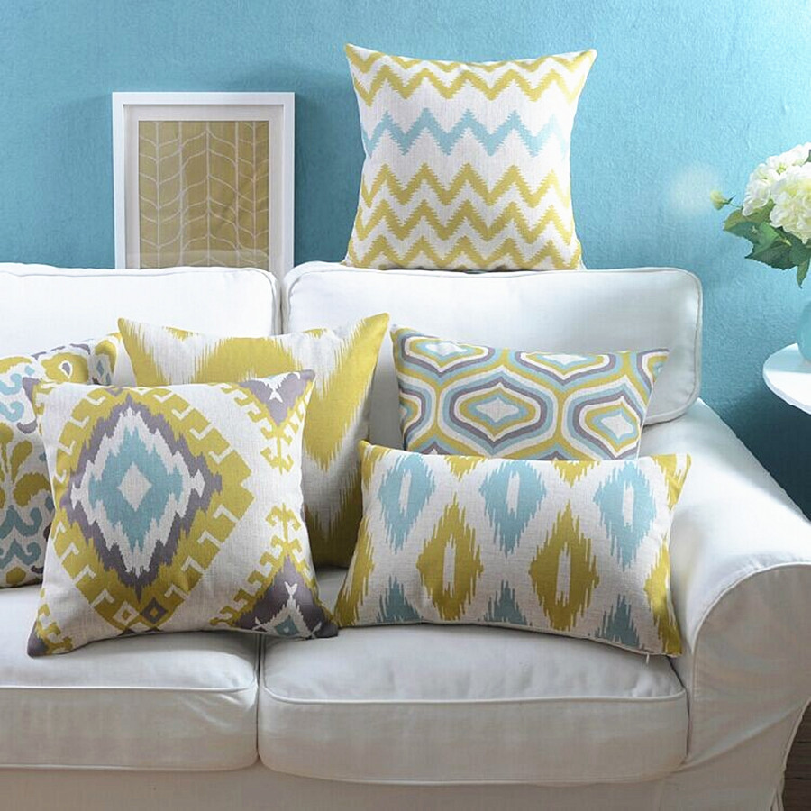 wholesales linen pillow cover yellow grey cushion cover
