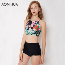 AONIHUA Want to be butterfly | 2018 Print Floral Bikini set Women Summer Vintage High waist neck Beach Swimwear Swimsuit 9037