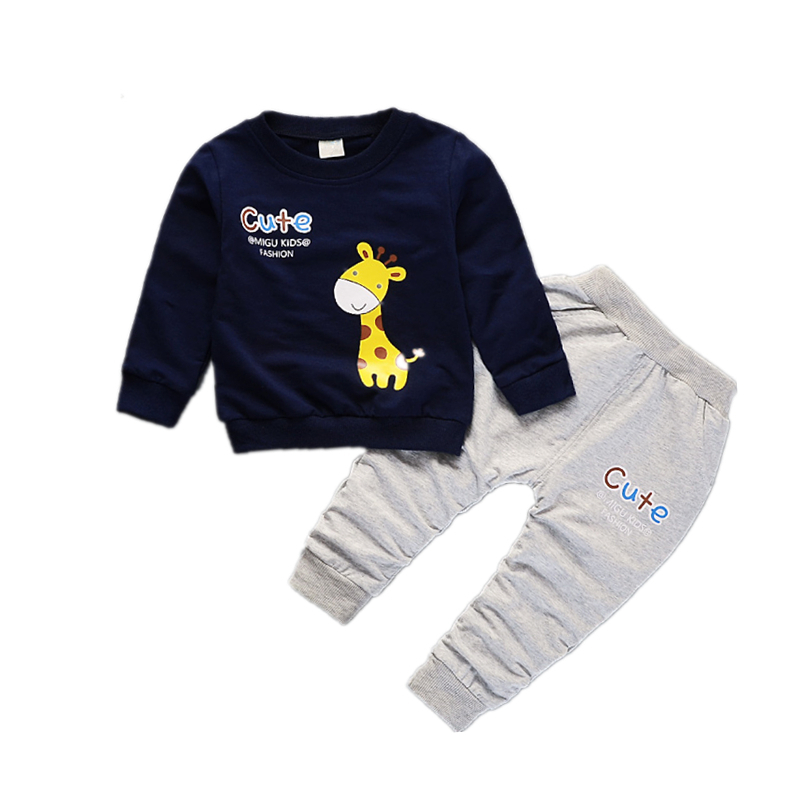 Spring Autumn Children Boys Girls Cartoon Giraffe Clothes Baby Pure Cotton T-shirt Pants 2 Pcs Sets  Toddler Fashion Tracksuits