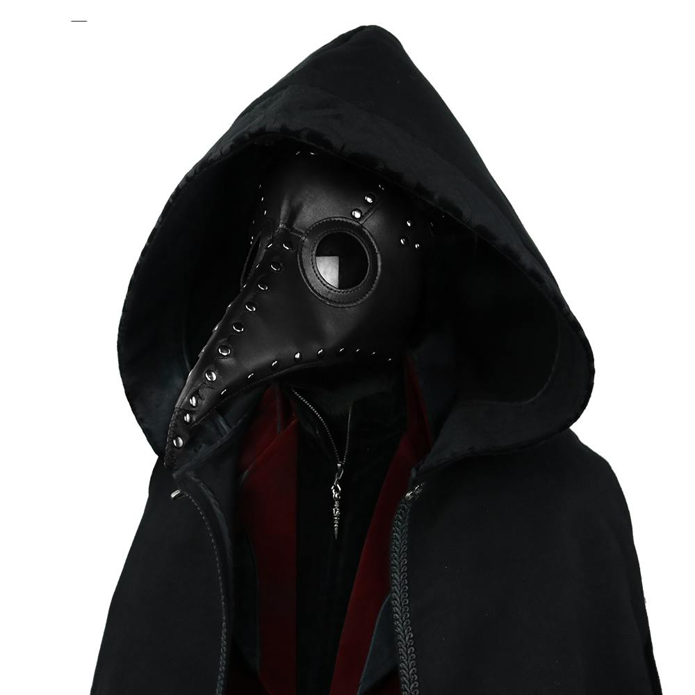 Steampunk Black Bird Masks Cuspidal Nose Halloween Animal Mask Adult Gothic PU Leather Masks chair