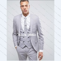 Custom MAde Groomsmen Shawl Lapel Groom Tuxedos Silver Grey Men Suits Wedding Best Man Blazer Jacket