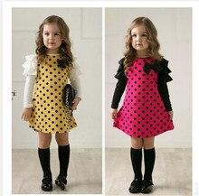 Venta caliente del envío gratis del otoño del resorte de la muchacha ropa linda del manga larga amarillo y rosa rojo colores se visten