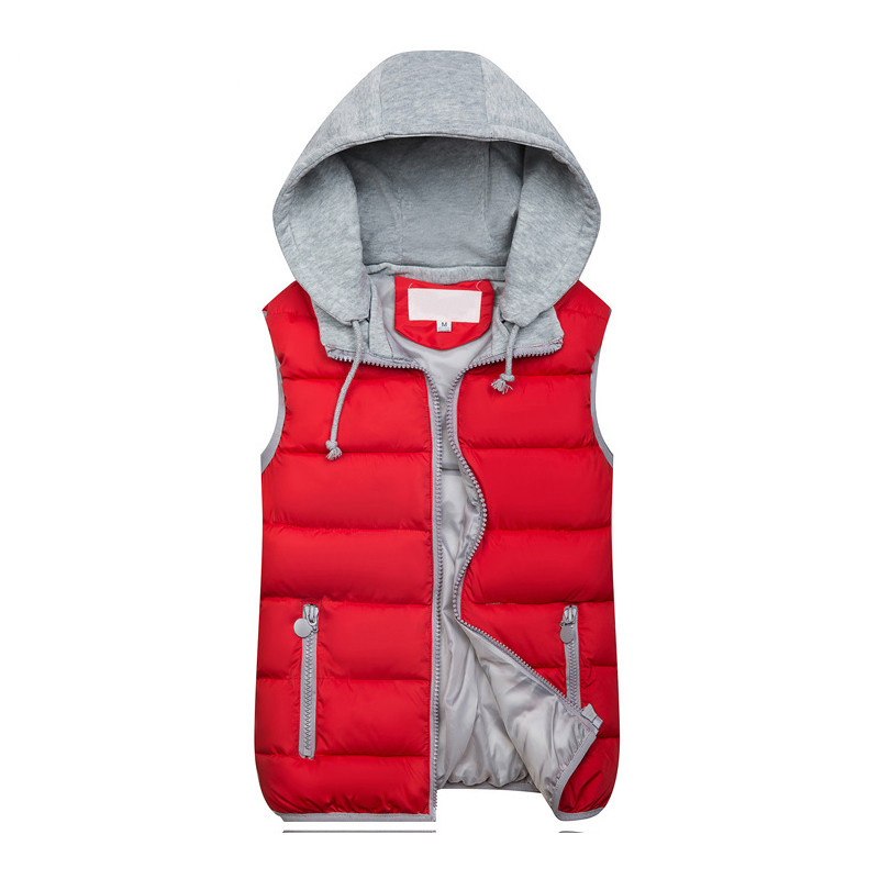 2018 Women Hooded Vest Autumn Winter Warm Cotton Padded Waistcoat Sleeveless Zipper Basic Coat