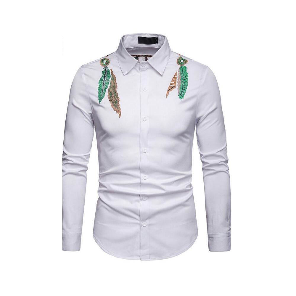 Men's White Shirt With Embroiders Men's Casual Shirts Turn-Down Collar Full Sleeves Shirt Fashion Male's Tops New 2019 D40