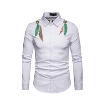 Males Turn-down Collar Shirt With Embroiders Mens Casual Shirts Full Sleeves Fashion  Tops New D40