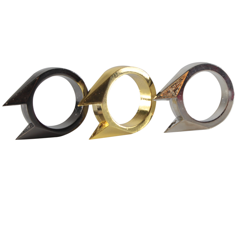 Self Defense Finger Rings Stainless Steel Silver Gold Black Color EDC Ring For Women Men Safety Outdoor Survival