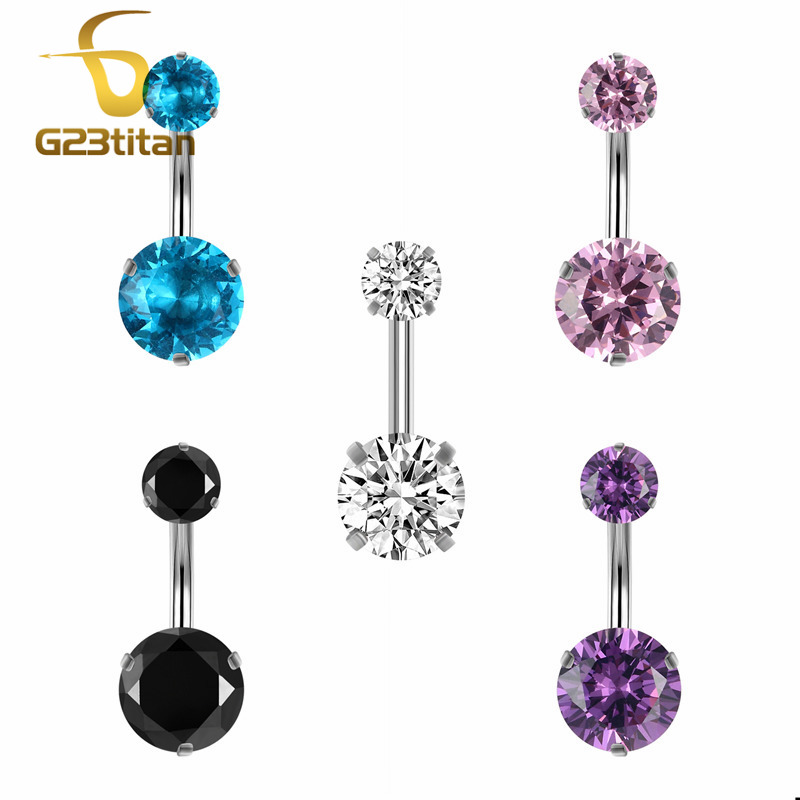 G23titan Stainless Steel Belly Rings 14G Two Round Crystal Heads 12mm Long Belly Botton Piercing Barbell Body Jewelry