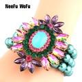 NeeFuWoFu Exaggeration Brand Bracelets Pearl Beads Crystal Bangles Charm Bracelet For Women Friends Famous Gift Jewelry Pulseras
