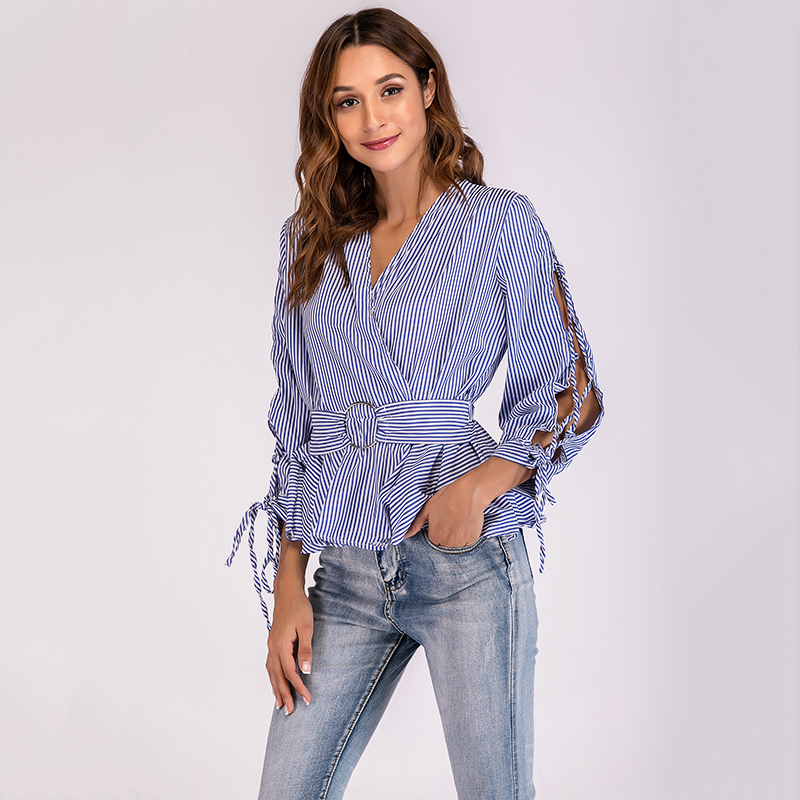 2019 New Autumn Striped Blouse For Women Hollow Out Lantern Long Sleeve Ruched  V-neck Belt Slim Blusas Mujer Casual Female Tops