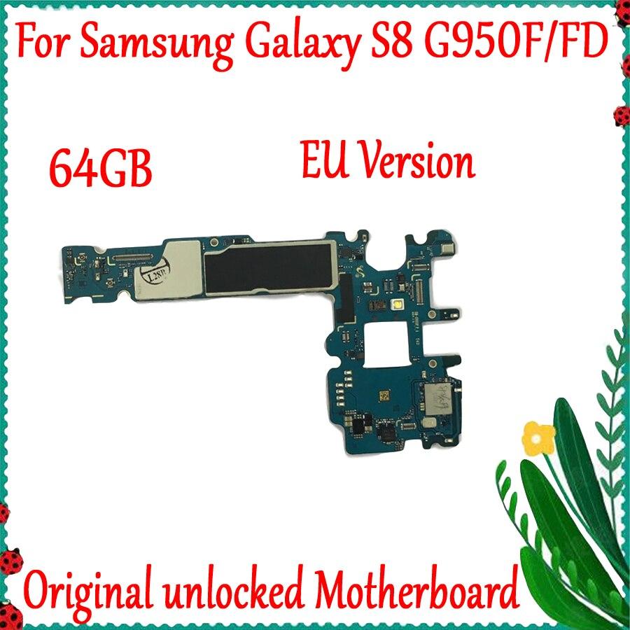 100% Original débloqué pour Samsung Galaxy S8 G950F/G950FD carte mère avec Android OS carte mère 64GB Europe Version