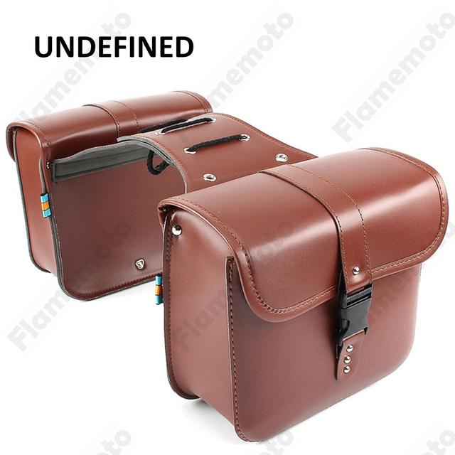 Universal Especially Motorbike Accessories Side Saddle Bag Tool Luggage Pannier Brown Pu Leather Motorcycle Undefined