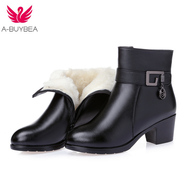 Women's Boots Shoes new winter thick wool fur lined genuine leather woman boots large warm ladies ankle booties black med heels