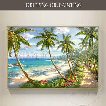 Artist Hand-painted High Quality Canvas Modern Wall Art Landscape Oil Painting Summer Seaside Beach Palm Tree Oil Painting